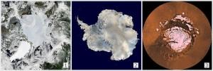 Aquecimento global -  Calotes polares: (1) Árctico; (2) Antárctico; (3) Em Marte