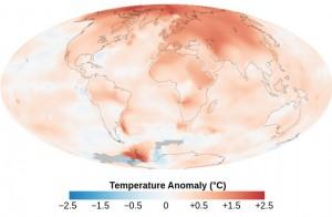 Aquecimento global - Anomalia média da temperatura num período de 10 anos