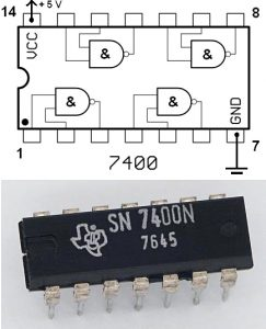 Portas lógicas - TTL 7400 (4 portas NAND)