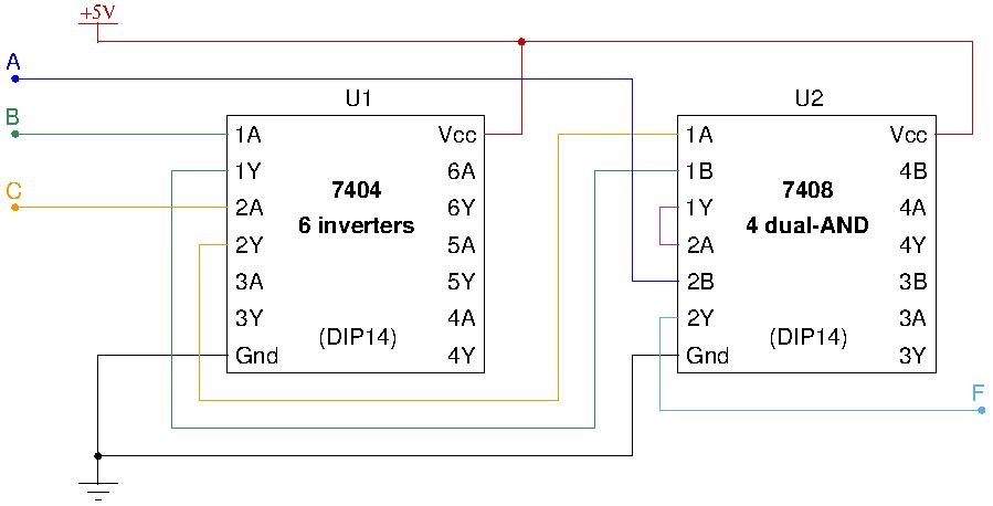 Portas lógicas - Exemplo de circuito com integrados da família TTL
