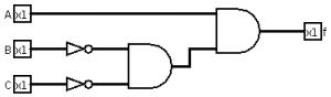 Portas lógicas - Exemplo de circuito com postas lógica 1