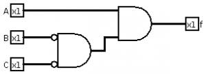 Portas lógicas - Exemplo de circuito com postas lógica 2