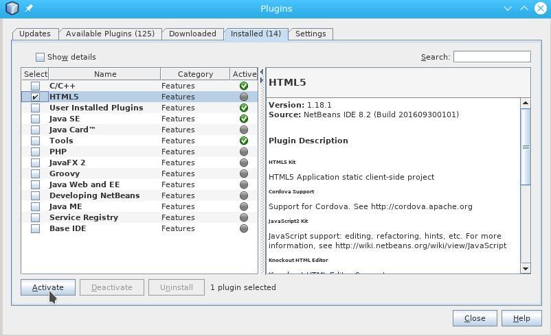 Cordova e Netbeans com Arch Linux: Activar HTML5