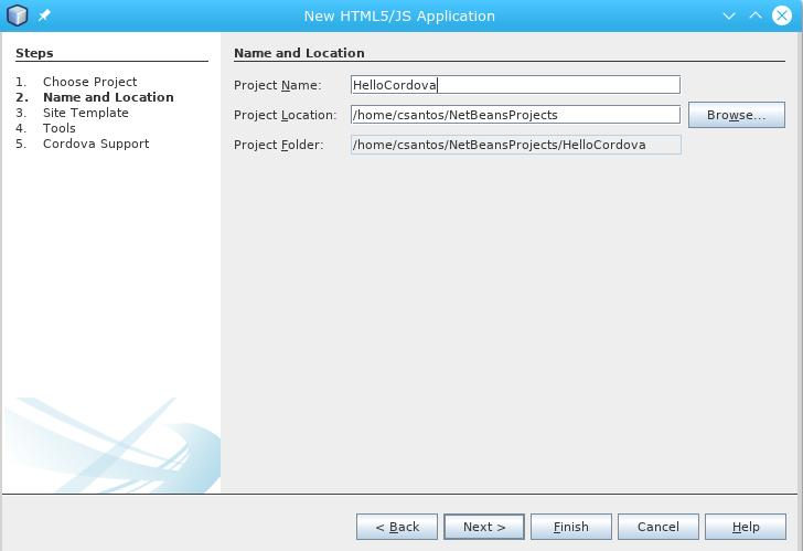 Cordova e Netbeans com Arch Linux: Nome do projecto