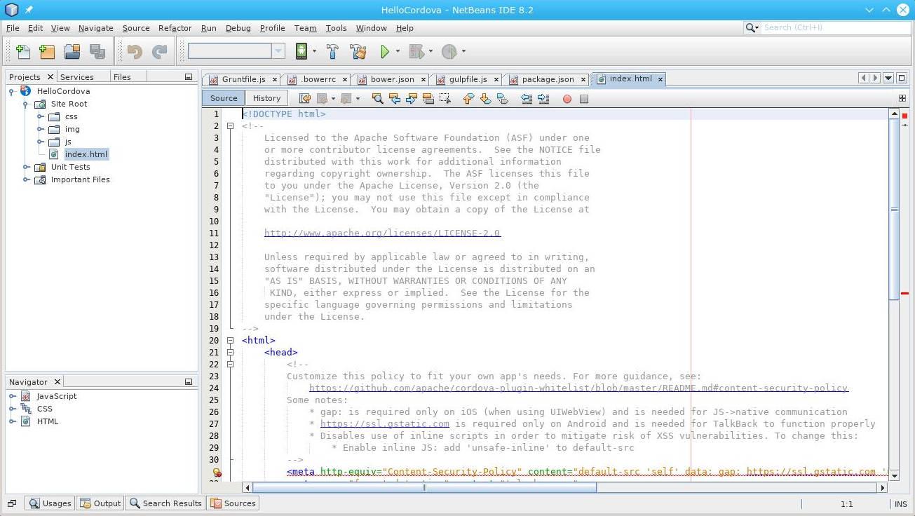 Cordova e Netbeans com Arch Linux: Código