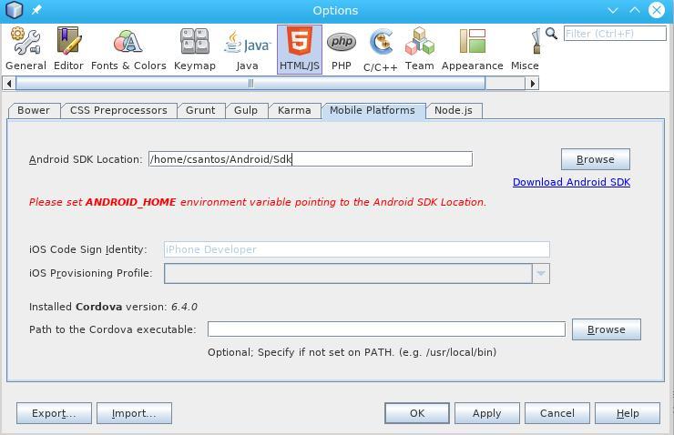 Cordova e Netbeans com Arch Linux: Localização Android SDK